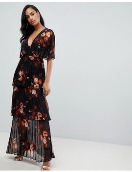 Asos Design Soft Pleated Tiered Maxi Dress In Dark Floral Print by Asos Design