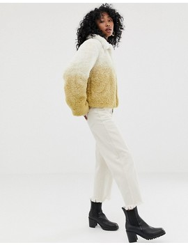 Weekday Short Faux Fur Jacket In Gradient Beige by Weekday