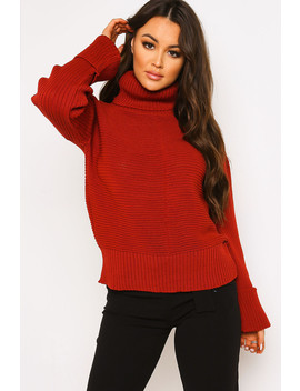 Rust Roll Neck Knitted Jumper by Lasula