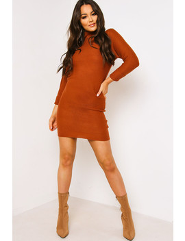 Brown Knitted Fitted Jumper Dress by Lasula