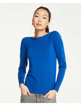 Boatneck Puff Shoulder Sweater by Ann Taylor