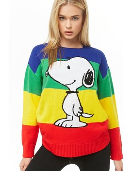 Snoopy Graphic Rainbow Sweater by Forever 21