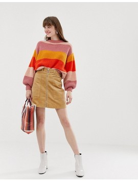 Monki Stripe Knitted Jumper In Multi by Monki