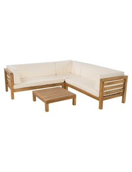 Oana 4pc Acacia Wood Patio Sectional Chat Set W/ Cushions   Christopher Knight Home by Christopher Knight Home