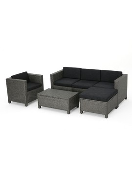 Puerta 6pc Wicker L Shaped Sectional Sofa Set   Christopher Knight Home by Christopher Knight Home
