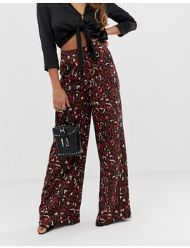 Missguided Petite Wide Leg Trouser In Chocolate Animal by Missguided