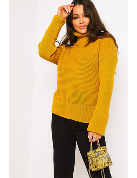 Mustard Roll Neck Knitted Jumper by Lasula