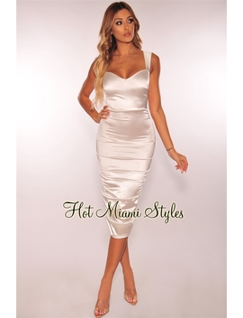 White Satin Sweetheart Ruched Dress by Hot Miami Style