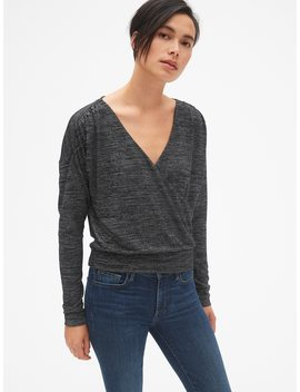 Softspun Long Sleeve Wrap Front Top by Gap