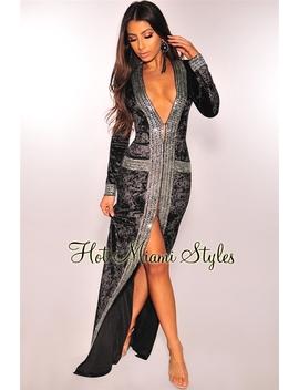 Black Crushed Velvet Silver Rhinestone Duster Coat Maxi Dress by Hot Miami Style