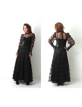 Vintage Schwarze Maxi Kleid Pagels Modell / Goth Maxi Kleid / Gothic Brautkleid / Guipure Kleid / Paillettenkleid / Witwe Kleid / Gothic Lolita by Etsy