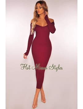 Burgundy Ribbed Knit Long Sleeves Dress by Hot Miami Style