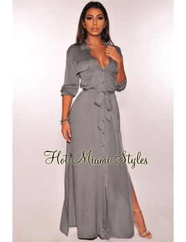 Dusty Sage Button Down Belted Maxi Dress by Hot Miami Style