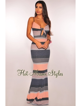 Navy Pink Striped Tie Up Maxi Dress by Hot Miami Style