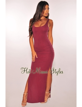 Dusty Wine Ruched Sides Slit Maxi Dress by Hot Miami Style