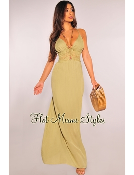 Sage Crochet Open Back Maxi Dress by Hot Miami Style