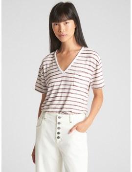 Softspun Stripe V Neck Pocket T Shirt by Gap
