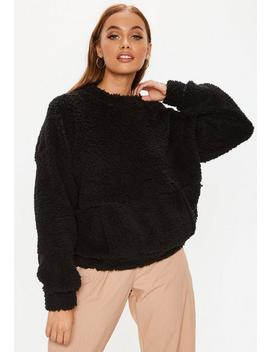 Petite Black Teddy Pocket Front Sweatshirt by Missguided