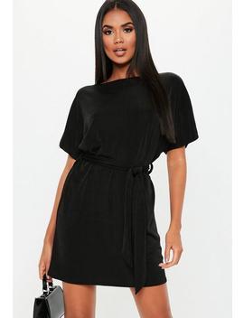 Black Off Shoulder Belted Shift Dress by Missguided