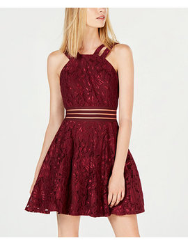 Juniors' Lace Illusion Fit & Flare Dress by City Studios