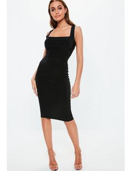 Black Slinky Square Neck Midaxi Dress by Missguided