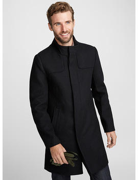 Stand Collar Felt Coat by Le 31