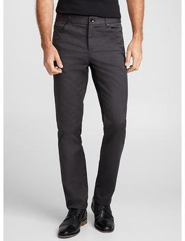 Charcoal Herringbone Pant London Fit   Slim Straight by Le 31