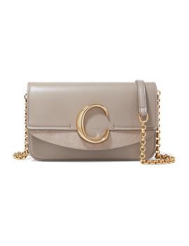 Chloé C Mini Suede Trimmed Leather Shoulder Bag by Chloé