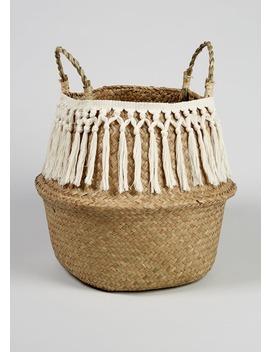 Tassel Fringe Storage Basket (35cm X 30cm X 30cm) by Matalan