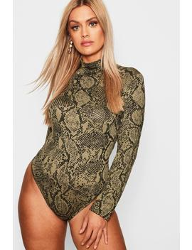 Plus Jersey Snake Print Roll Bodysuit by Boohoo
