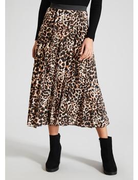Animal Print Pleated Midi Skirt by Matalan
