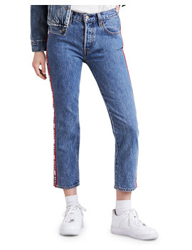 501 Cropped Straight Leg Jeans W/ Racer Stripes by Levi's Premium