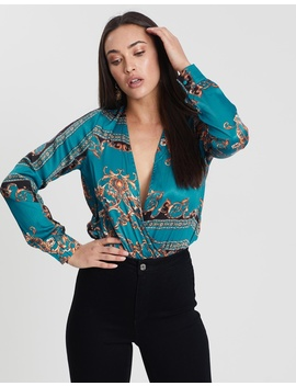 Chain Print Wrap Bodysuit by Missguided