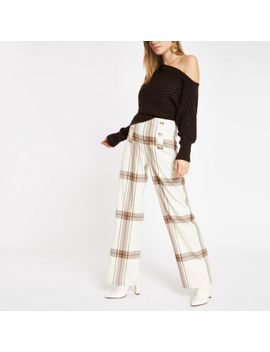 Cream Check Wide Leg Trousers by River Island