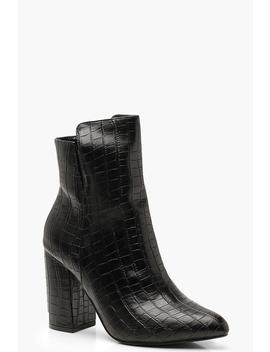 Cut Out Croc Block Heel Shoe Boots by Boohoo