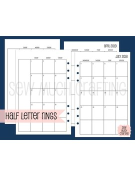Printed Half Letter Size Month On Two Pages Sunday Saturday {January December 2019} #700 02 Rings by Etsy