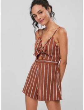 Cutout Knotted Front Striped Cami Romper   Chestnut Red Xl by Zaful