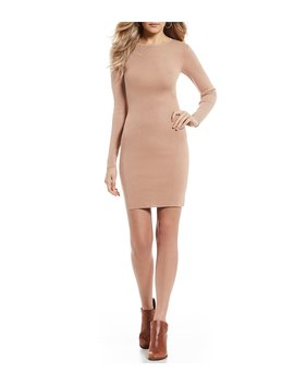 Rib Knit Sheath Long Sleeve Dress by Gb
