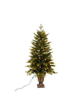 4 Ft. Pre Lit Led Aspen Fir Potted Artificial Christmas Tree With Warm White Micro Dot Lights by Home Accents Holiday