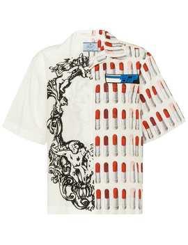 Lipstick Print Half Sleeve Shirt by Prada