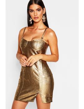 Metallic Bustier Bodycon Dress by Boohoo