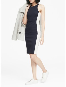 Petite Color Blocked Racer Neck Sheath Dress by Banana Repbulic