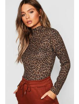 Leopard Print Brushed Knitted Top by Boohoo