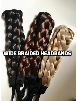 Wide Braided Headband Premium Quality Human Hair Like Synthetic Hand Made Hair Bands by Etsy