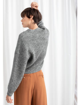 Wool Blend Cropped V Neck Sweater by & Other Stories