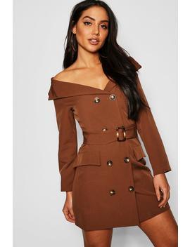 Off The Shoulder Belted Blazer Dress by Boohoo