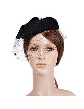 Vbiger Women Fascinator Hats Derby Wedding Hats Vintage Hat Pillbox Hat Woollen Felt Hat Bow Veil Party Hat For Women by Vbiger