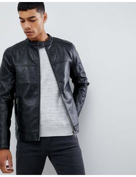 Burton Menswear Faux Leather Racer Jacket In Black by Burton Menswear London
