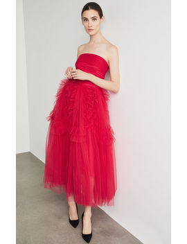 Strapless Ruffle Trimmed Gown by Bcbgmaxazria