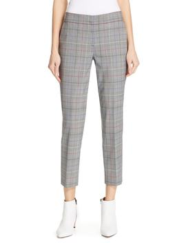 Windowpane Plaid Stretch Wool Pants by Lewit